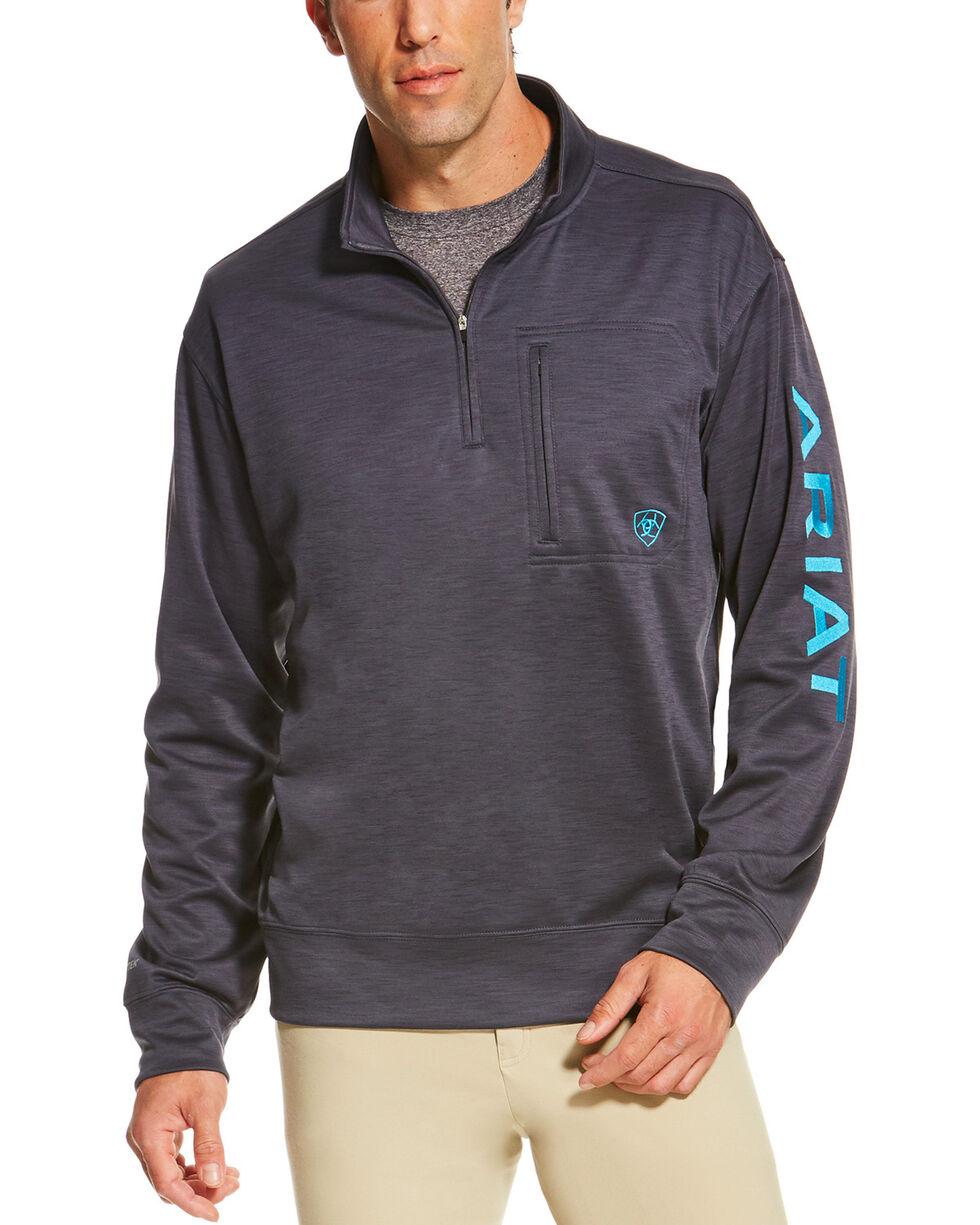 Ariat Men's Charcoal Team Logo 1/4 Zip Pullover , Charcoal, hi-res