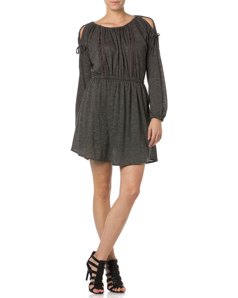 Miss Me Charcoal Open Shoulder Jersey Dress , Charcoal Grey, hi-res