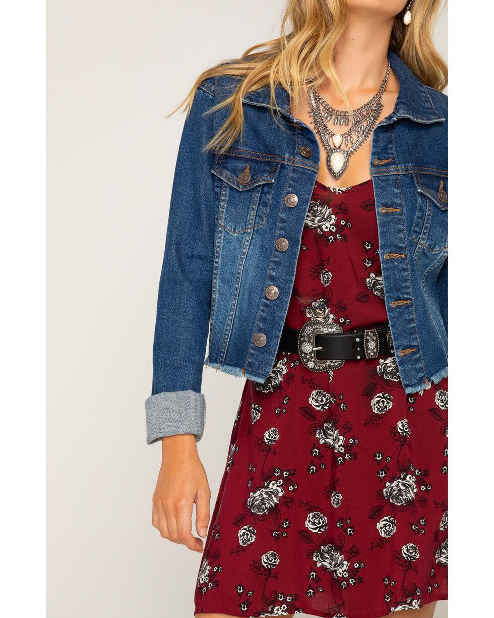Shyanne Women's Raw Hem Denim Jacket, Blue, hi-res