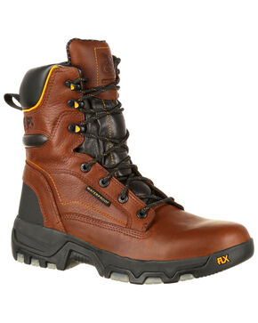 """Georgia Boot Men's FLXPoint 8"""" Waterproof Work Boots - Round Toe, Brown, hi-res"""