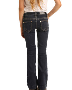 Rock & Roll Denim Girls' Dark Wash Trousers, Blue, hi-res