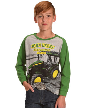 John Deere Boys' Best In Field Long Sleeve Shirt, Grey, hi-res