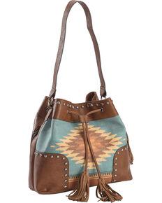 Blazin Roxx Women's Zapotec Aztec Print Drawstring Bucket Bag, Brown, hi-res