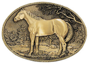 Montana Silversmiths Horse Profile Heritage Attitude Belt Buckle, Gold, hi-res