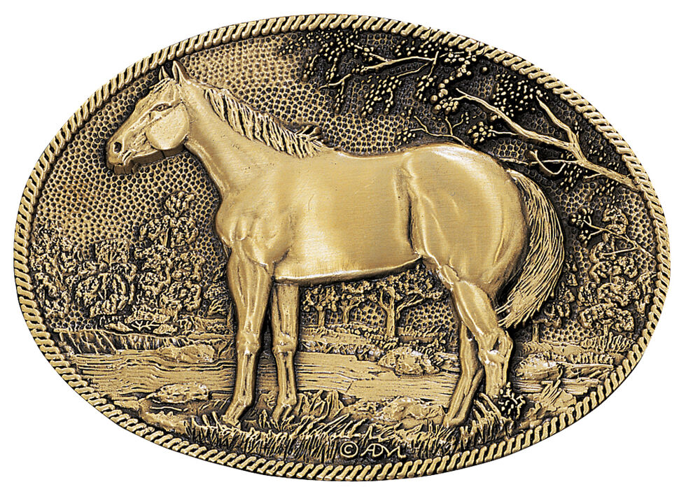 Montana Silversmiths Horse Profile Heritage Attitude Belt Buckle, Gold, hi-res