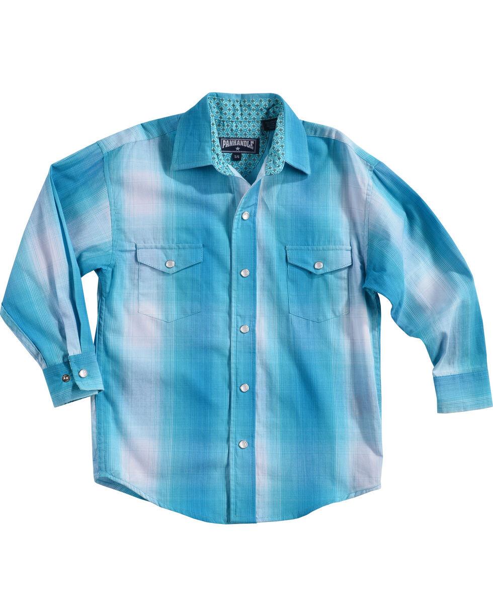Panhandle Boys' Long Sleeve Plaid Snap Shirt, Blue, hi-res