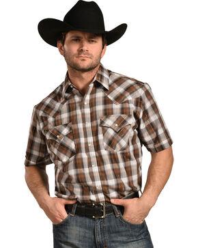Ely Cattleman Men's Brown Lurex Plaid Shirt , Brown, hi-res