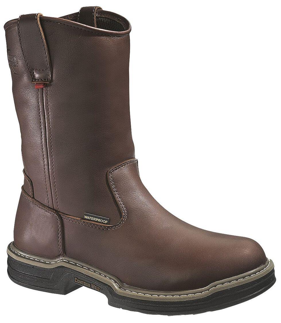 Wolverine Buccaneer Waterproof Pull-On Work Boots - Steel Toe, Dark Brown, hi-res