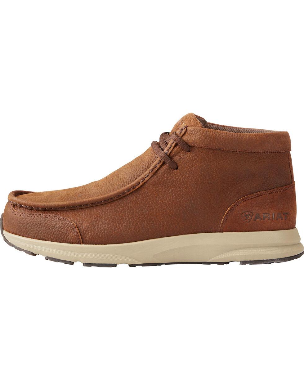 Ariat Men's Spitfire Aged Mahogany Bomber Shoes - Moc Toe, Dark Brown, hi-res