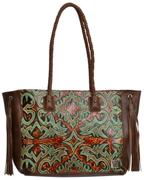 Angel Ranch Women's Floral Embossed Conceal Carry Tote , Brown, hi-res