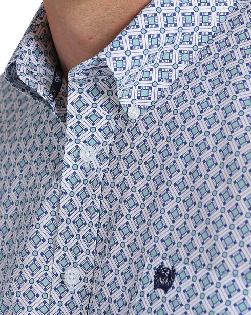 Cinch Men's White Print Long Sleeve Button Down Shirt, White, hi-res