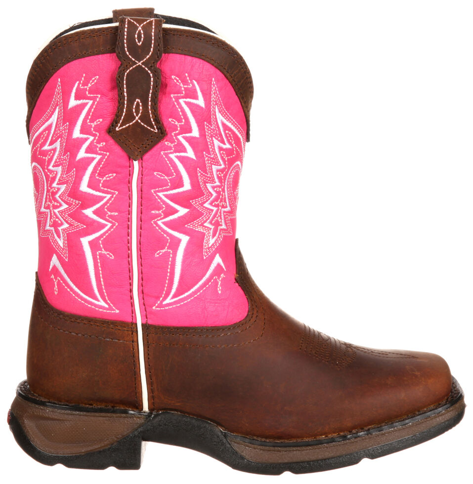 Lil' Durango Toddler Girls' Let Love Fly Western Boots - Square Toe, Brown, hi-res