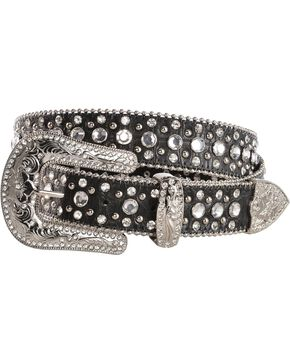 Red Ranch Croc Print Rhinestone Embellished Belt, Black, hi-res