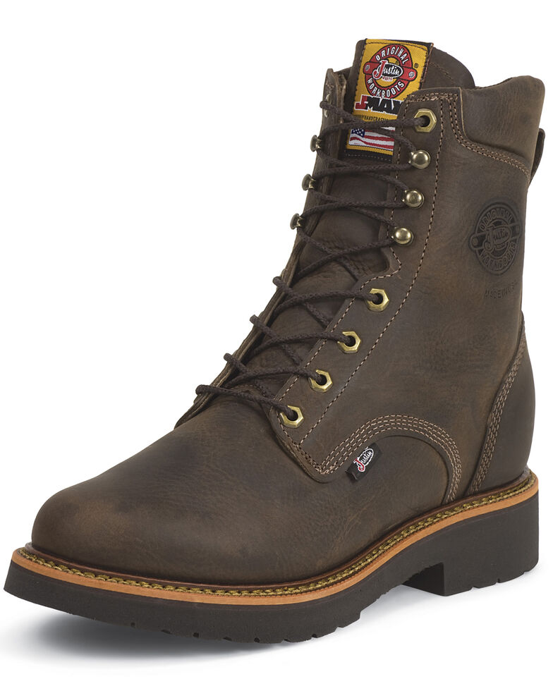 "Justin Men's J-Max 8"" Blueprint Lace-Up EH Work Boots - Steel Toe, Chocolate, hi-res"