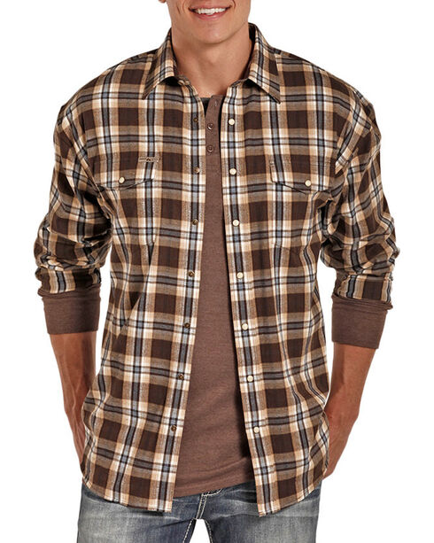 Powder River Outfitters Men's Brown Plaid Snap Shirt , Brown, hi-res