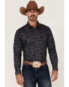 Rock & Roll Denim Men's Charcoal Distressed Floral Print Long Sleeve Snap Western Shirt, Charcoal, hi-res