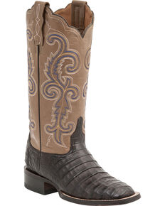 Lucchese Handmade 1883 Women's Annalyn Ultra Caiman Belly Boots - Square Toe, Cafe, hi-res
