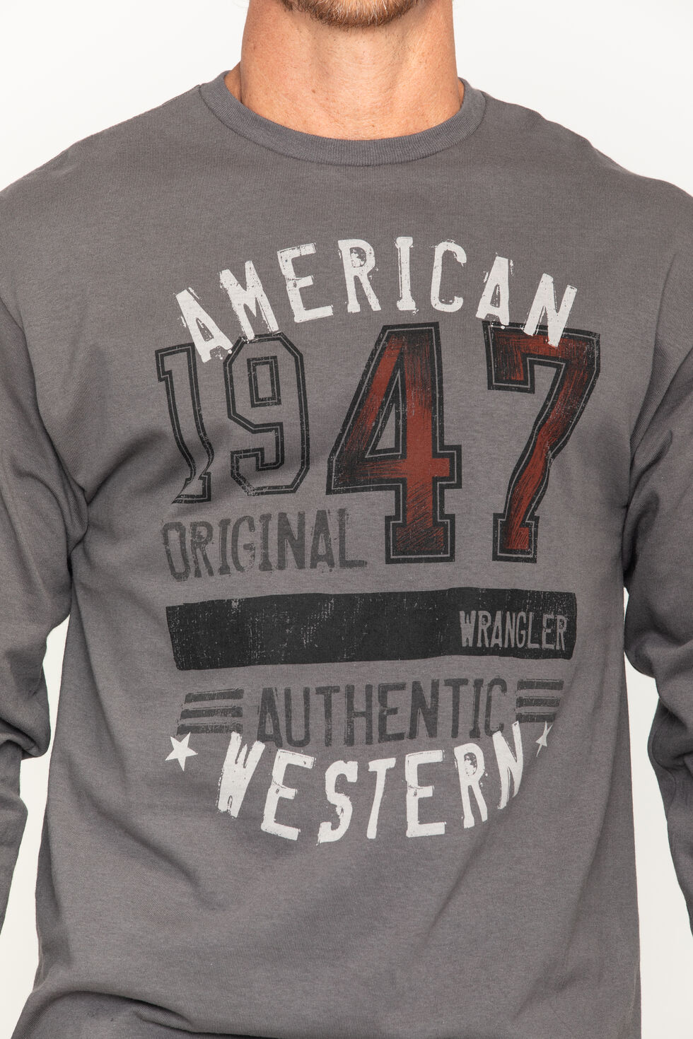 Wrangler Men's 1947 American Western Long Sleeve Tee, Brown, hi-res