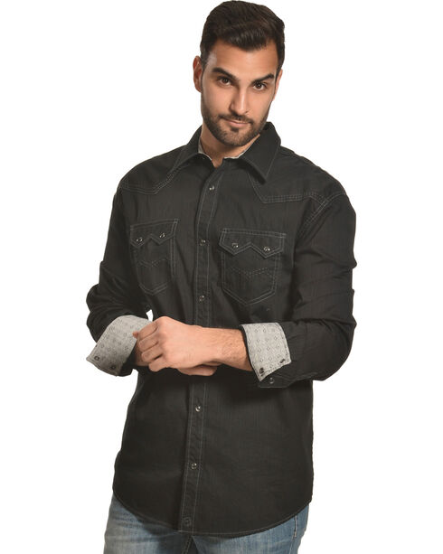 Moonshine Spirit Men's Blackened Embroidery Long Sleeve Shirt, Black, hi-res