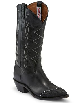 Tony Lama Women's Black Emilia Western Boots - Pointed Toe, Black, hi-res