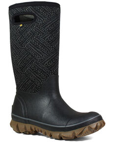 Bogs Women's Whiteout Fleck Rubber Boots - Round Toe, Black, hi-res