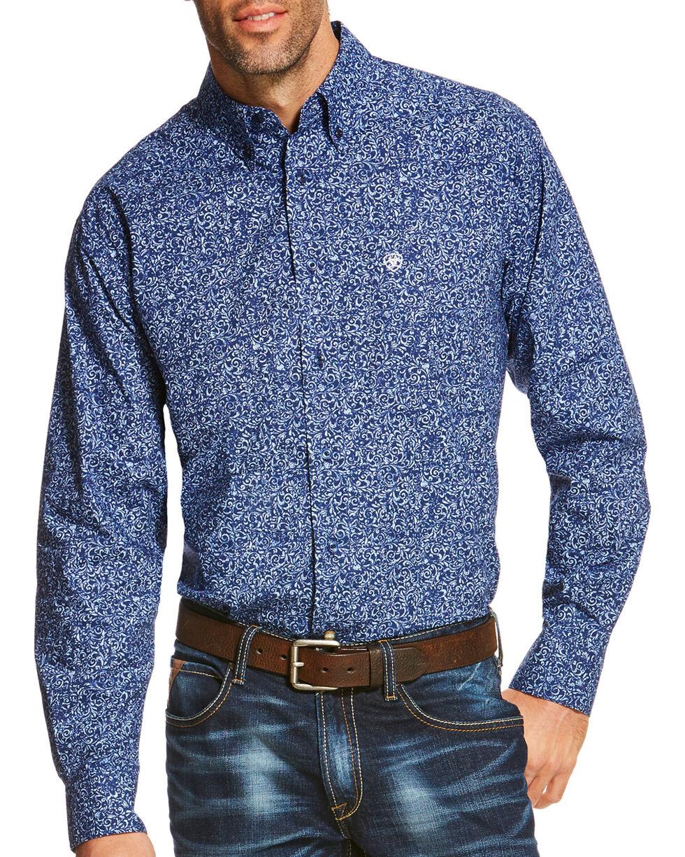 Ariat Men's Blue Rocklin Print Long Sleeve Shirt , Blue, hi-res