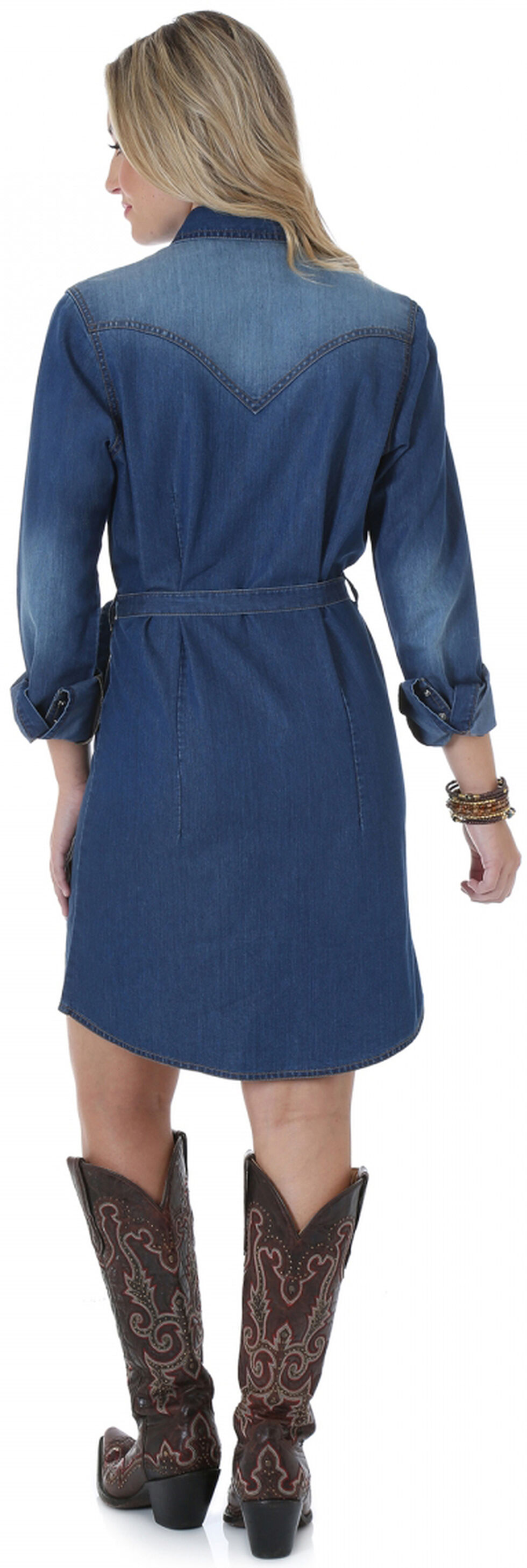 Wrangler Long Sleeve Dark Denim Shirt Dress, Denim, hi-res