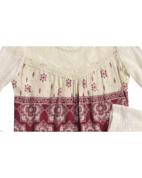 Shyanne Girls' Floral Tile Printed Long Sleeve Shirt, Ivory, hi-res