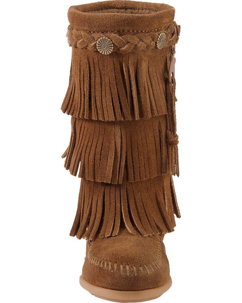 Minnetonka Girls' Fringed Suede Boots, Dusty Brn, hi-res