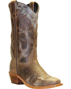 Abilene Boots Women's Distressed Inlay Wingtip Western Boots - Square Toe, Tan, hi-res