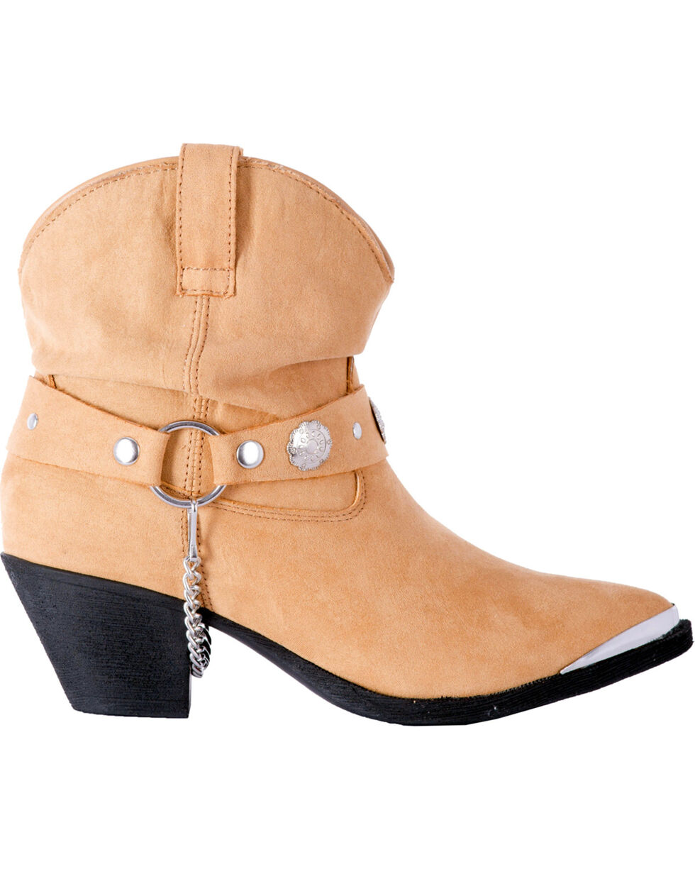 Dingo Women's Tan Leather Concho Strap Slouch Ankle Boots - Pointed Toe, Tan, hi-res