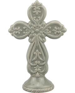 Stonebriar Ceramic Cross Pedestal, No Color, hi-res