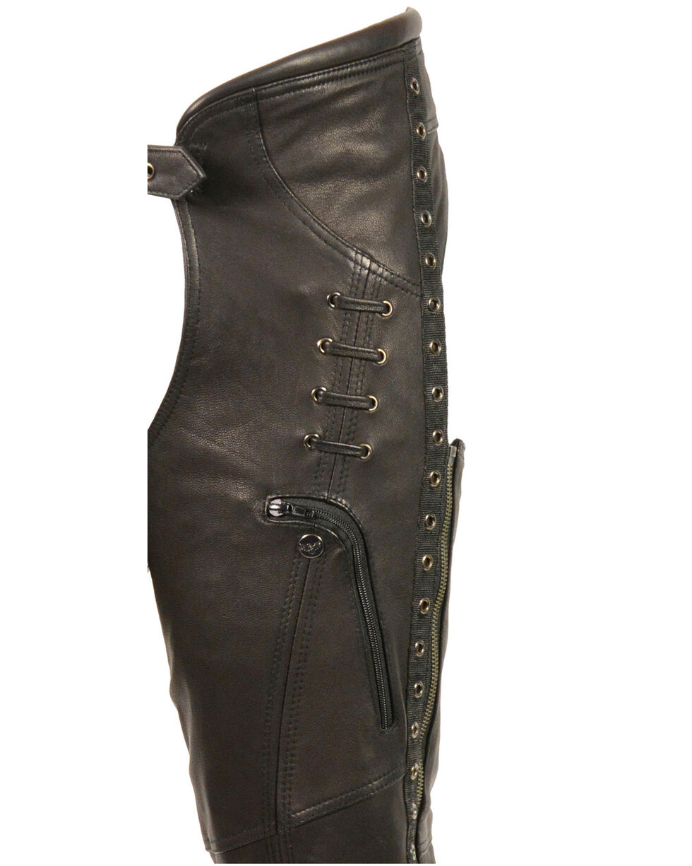Milwaukee Leather Women's Lace & Grommet Lightweight Hip Set Chaps - 4X, Black, hi-res