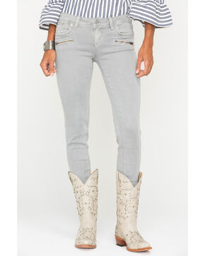 Grace in LA Women's Zipper Detail Jeans - Skinny , Grey, hi-res