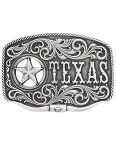 Montana Silversmiths Men's Texas Star Longhorn Attitude Buckle, Antique Silver, hi-res