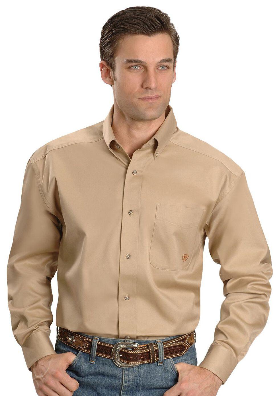 Ariat Khaki Twill Cowboy Shirt, Khaki, hi-res
