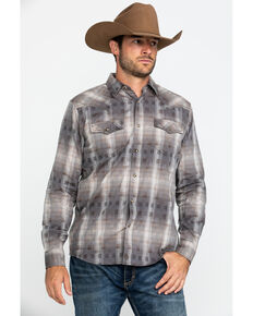 Moonshine Spirit Men's Dust Bowl Small Plaid Long Sleeve Western Shirt , Grey, hi-res