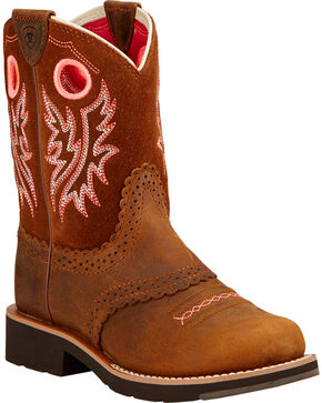 Ariat Fatbaby Girls' Powder Brown Cowgirl Boots - Round Toe, Brown, hi-res