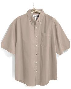 Tri-Mountain Men's Khaki Solid Recruit Short Sleeve Work Shirt , Beige/khaki, hi-res