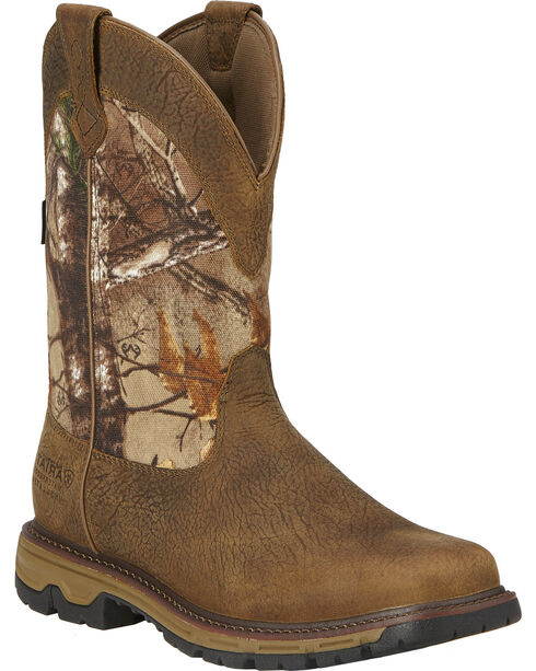 Ariat Men's Conquest H2O 400g Insulated Pull-On Hunting Boots, Brown, hi-res