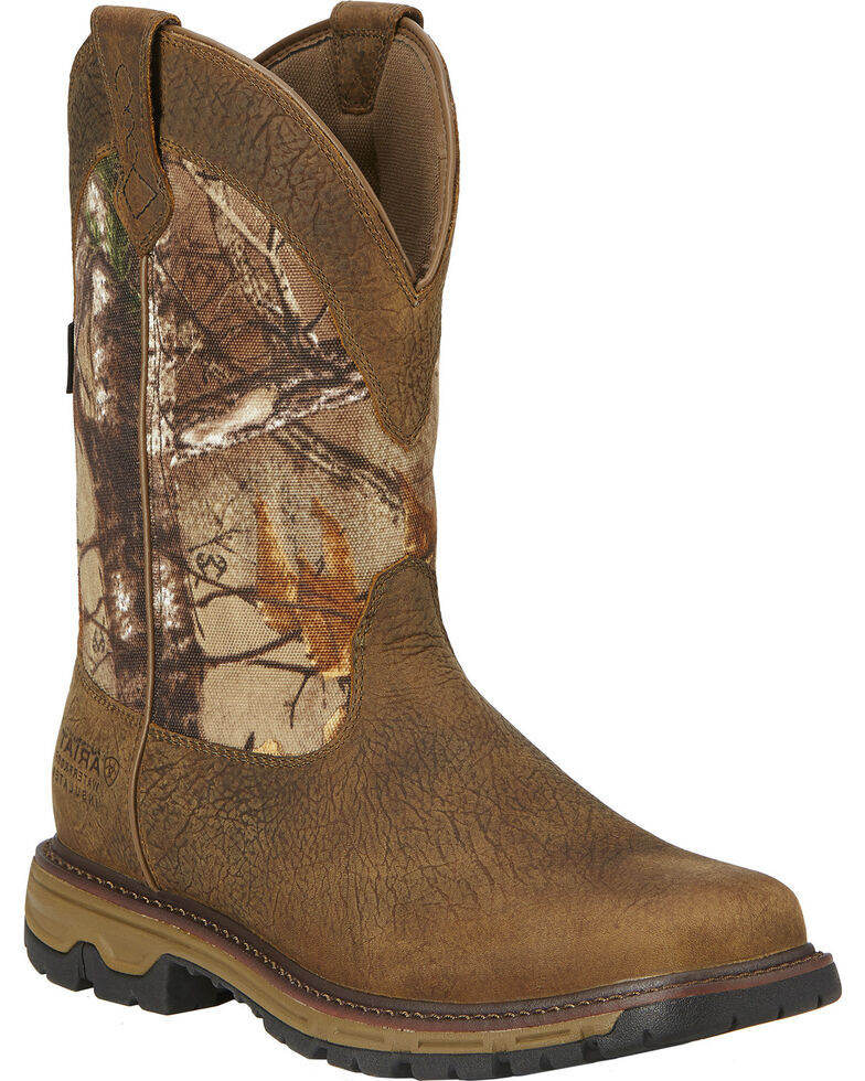 Ariat Men's Conquest H2O 400g Insulated Pull-On Hunting Boots, Brown, hi-