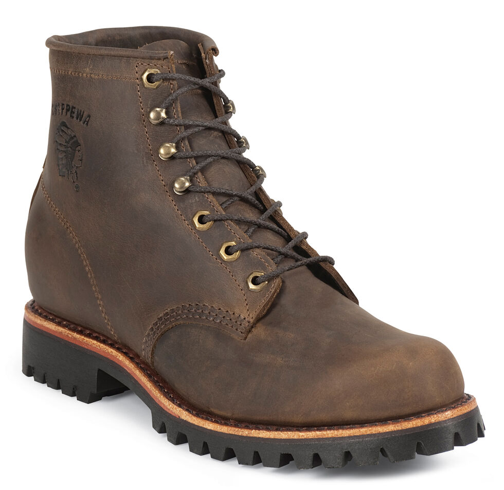 """Chippewa Classic 6"""" Lace-Up Work Boots - Round Toe, Chocolate, hi-res"""
