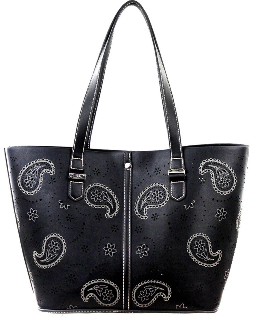 Montana West Paisley Collection Handbag, Black, hi-res