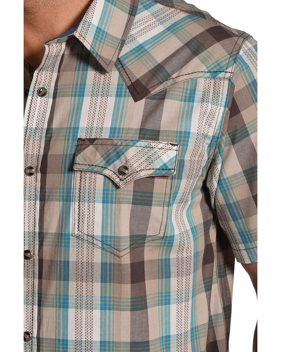 Cody James Men's San Felipe Brown Plaid Short Sleeve Western Shirt - Big & Tall, Brown, hi-res