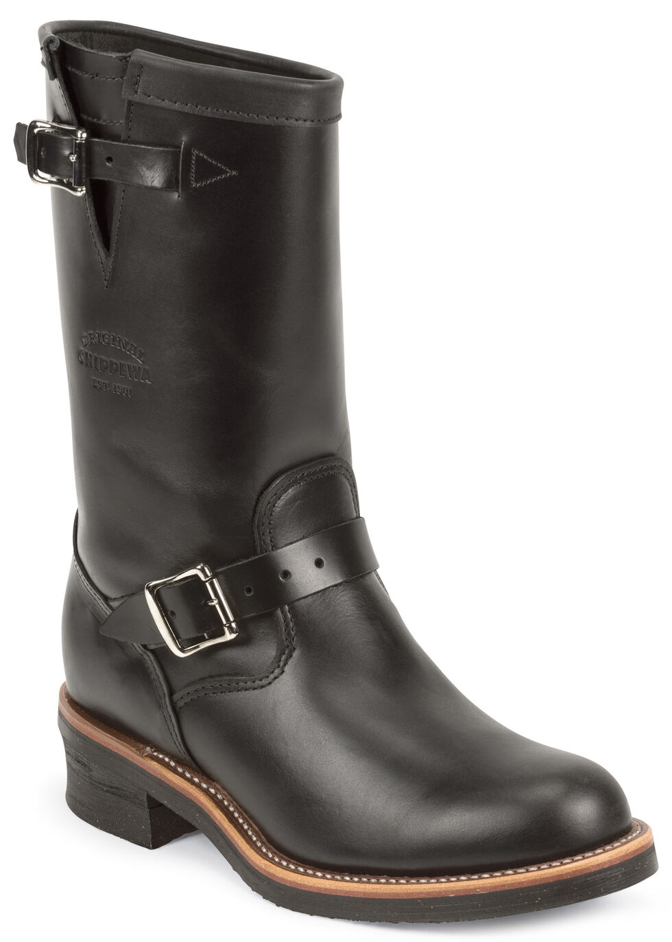 Chippewa Men's Whirlwind Black Engineer Boots - Round Toe, Black, hi-res