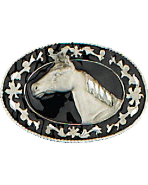 Western Express Men's Black Small Horsehead Belt Buckle , Black, hi-res