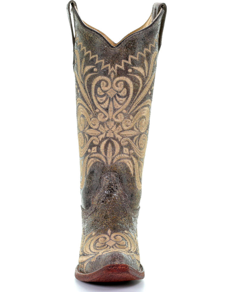 Circle G Women's Distressed Filigree Embroidered Cowgirl Boots - Snip Toe, Multi, hi-res
