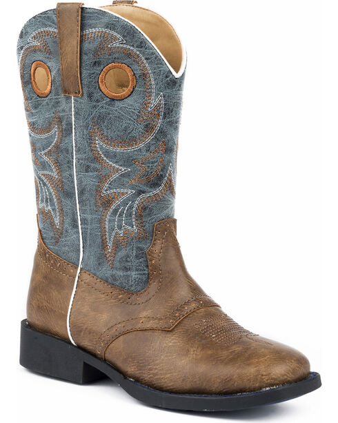 Roper Boys' Daniel Distressed Saddle Vamp Cowboy Boots - Square Toe, Brown, hi-res