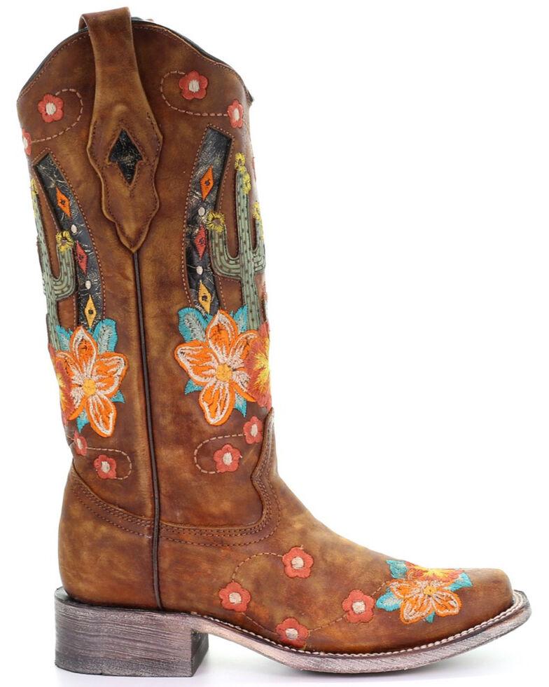 Corral Women's Honey Cactus Western Boots - Square Toe, Honey, hi-res