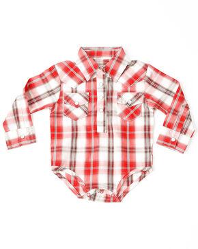Wrangler Infant Boys' Plaid Snap Up Onesie, Red, hi-res
